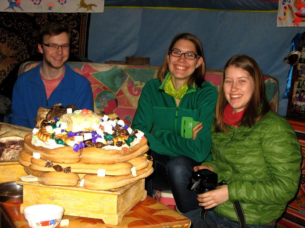 Celebration of the Lunar New Year in Mongolia in a family ger with some of our guests.