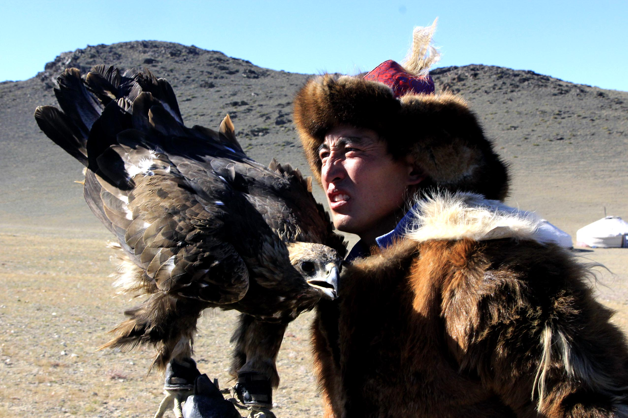 Eagle hunting experience in Kazak family