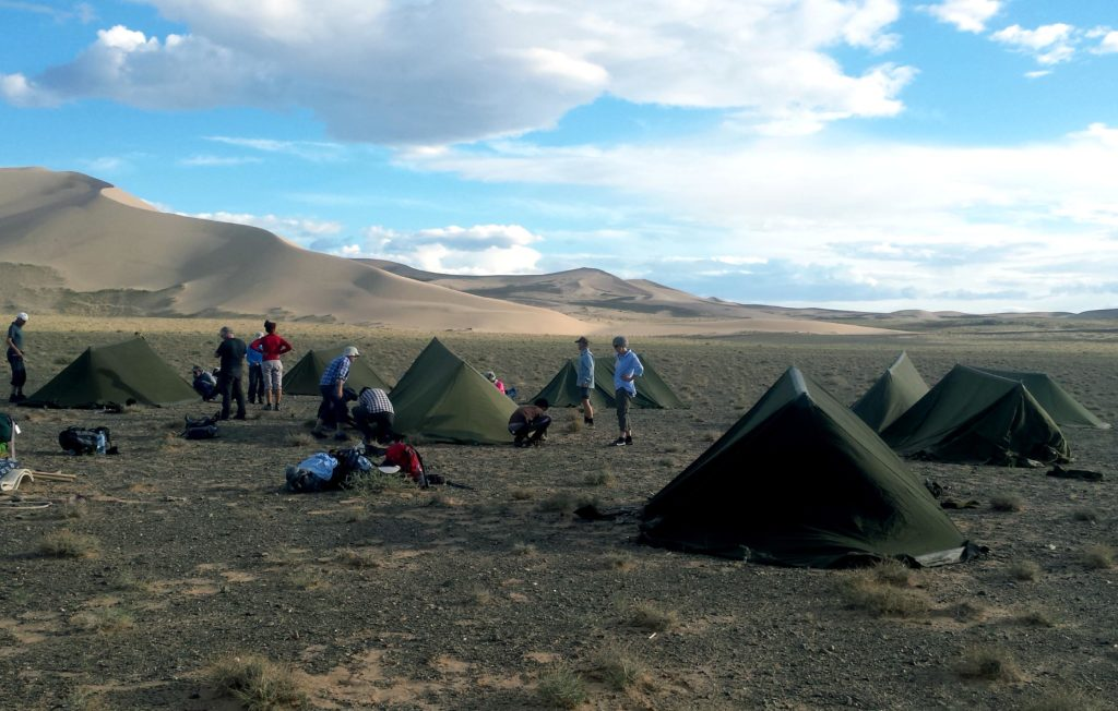 Camping in the west bank of Khongoryn Els, Mongolia