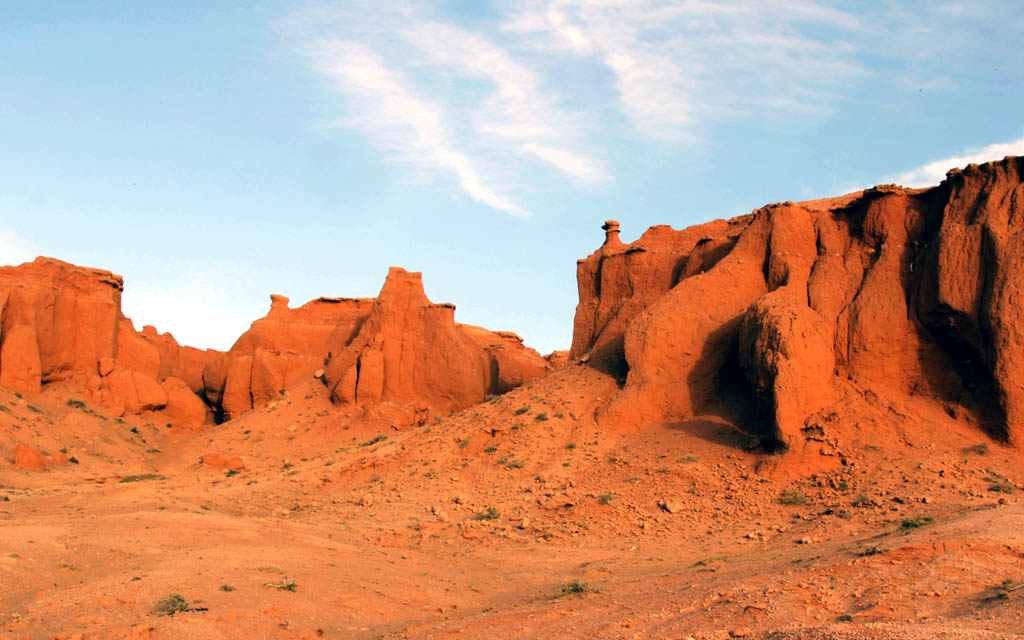 Bayanzag Flaming Cliffs in the Gobi Desert