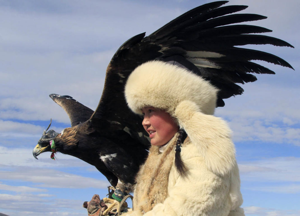 Eagle huntress from the Western Mongolia