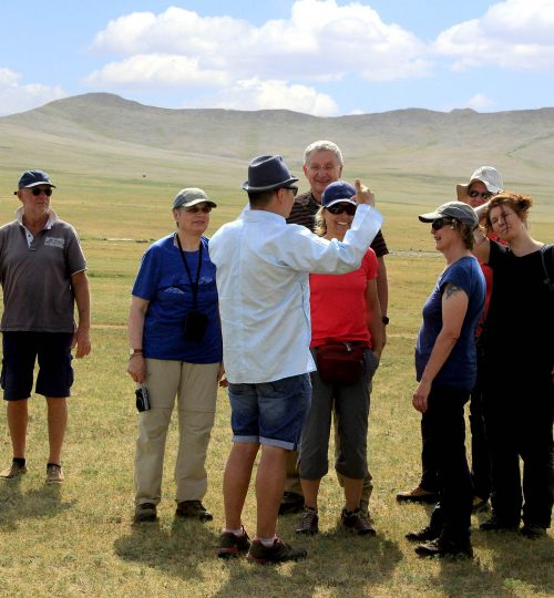 Guiding during the tour at Naadam